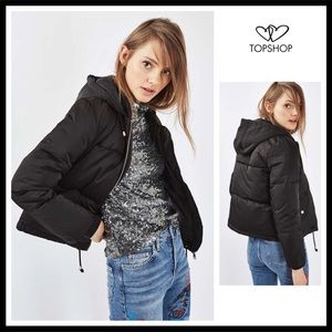 TOPSHOP BLACK QUILTED HOODED PUFFER JACKET